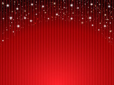 Red curtains on theater with stars