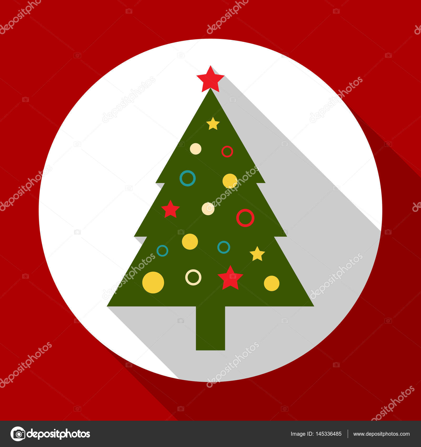 Christmas tree color on red background with long shadow. Vector ...