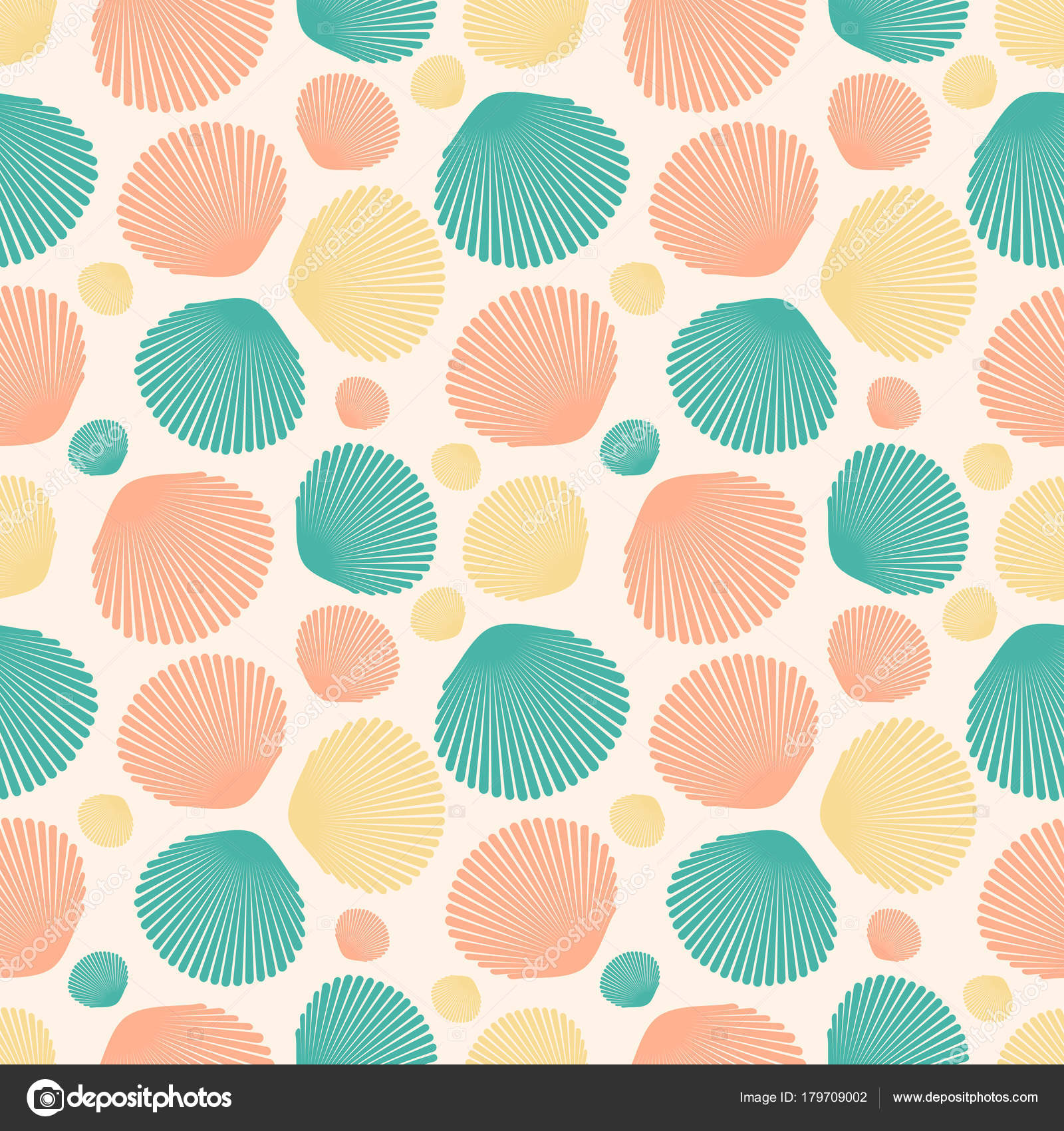 Seamless Pattern With Colorful Seashells For Wrapping Paper