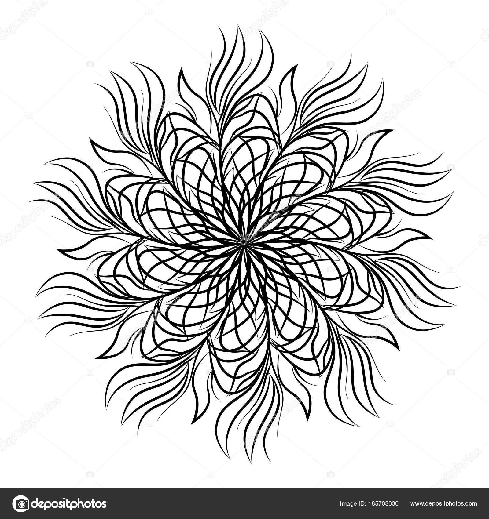 Mandala. Ornamento floral redondo aislado sobre fondo blanco ...