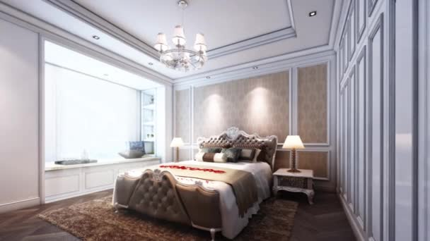 3d animation of bedroom of classic style