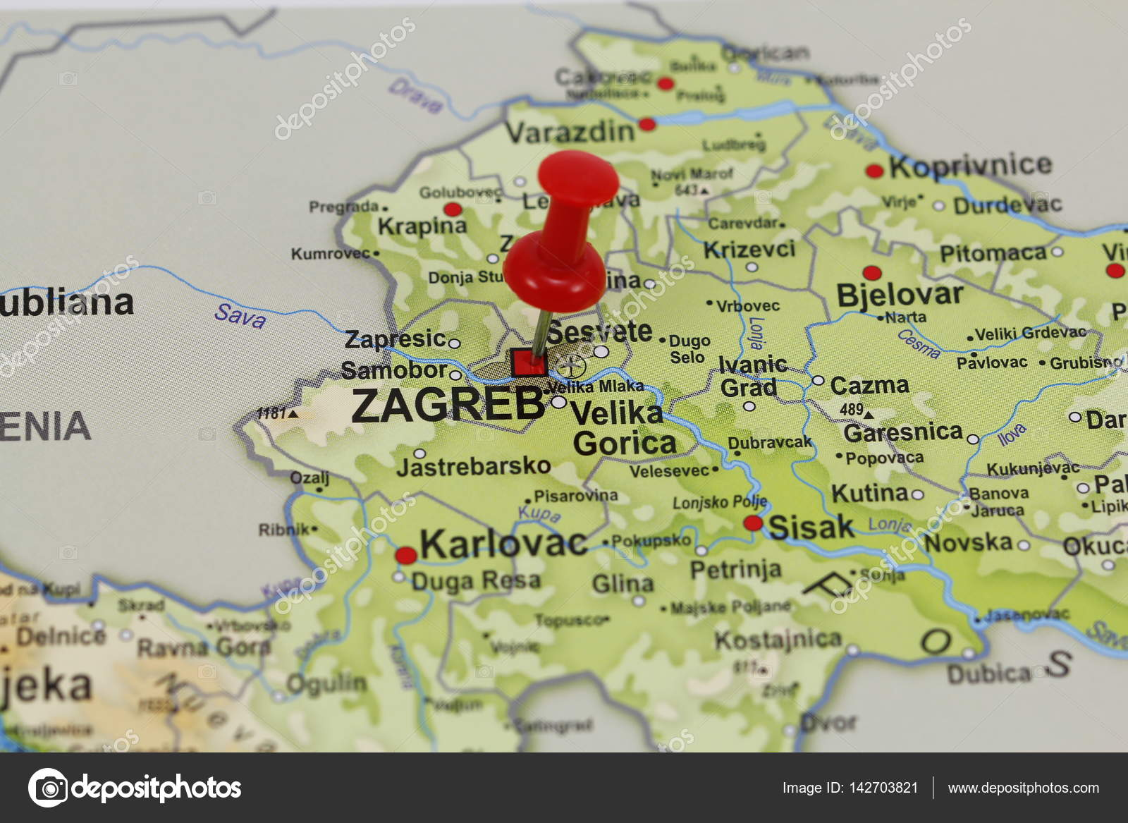 Zagreb Pin In A Map Stock Photo C Agafapaperiapunta Hotmail Es