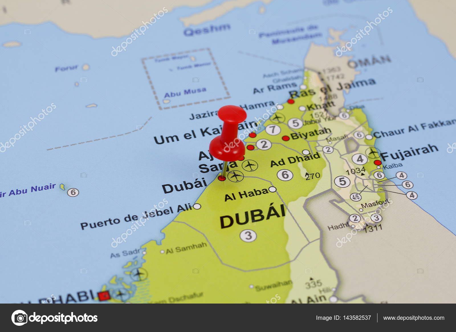 mapa de dubai Pin de Dubai en un mapa — Foto de stock © agafapaperiapunta  mapa de dubai