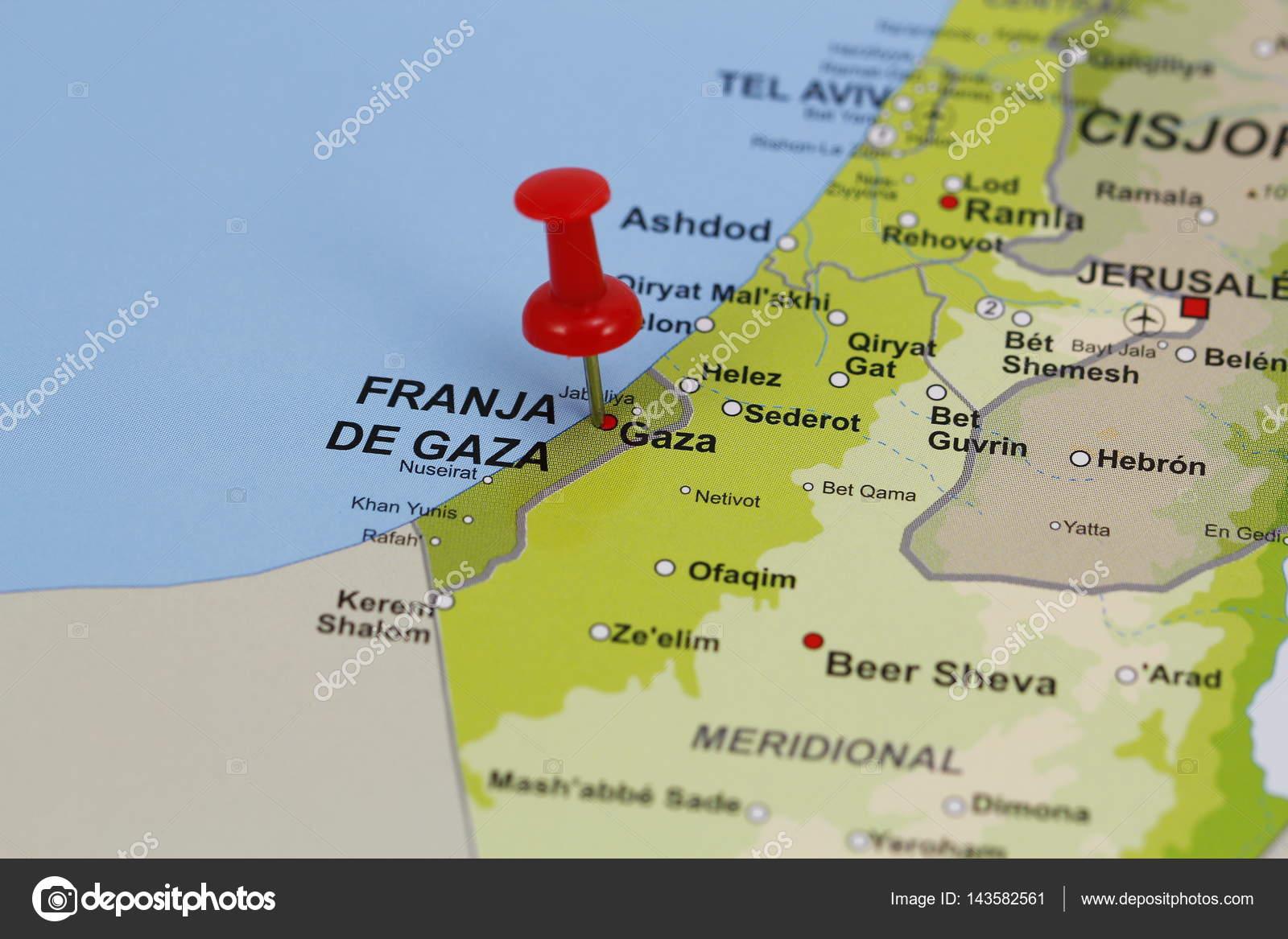 Gaza pin in a map — Stock Photo © agafapaperiapunta@hotmail.es ...