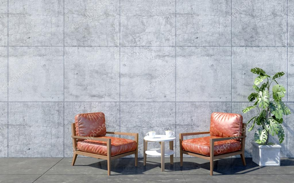 Decoratie Planten Woonkamer : Loft woonkamer interieur met rode retro arm stoel en koffietafel