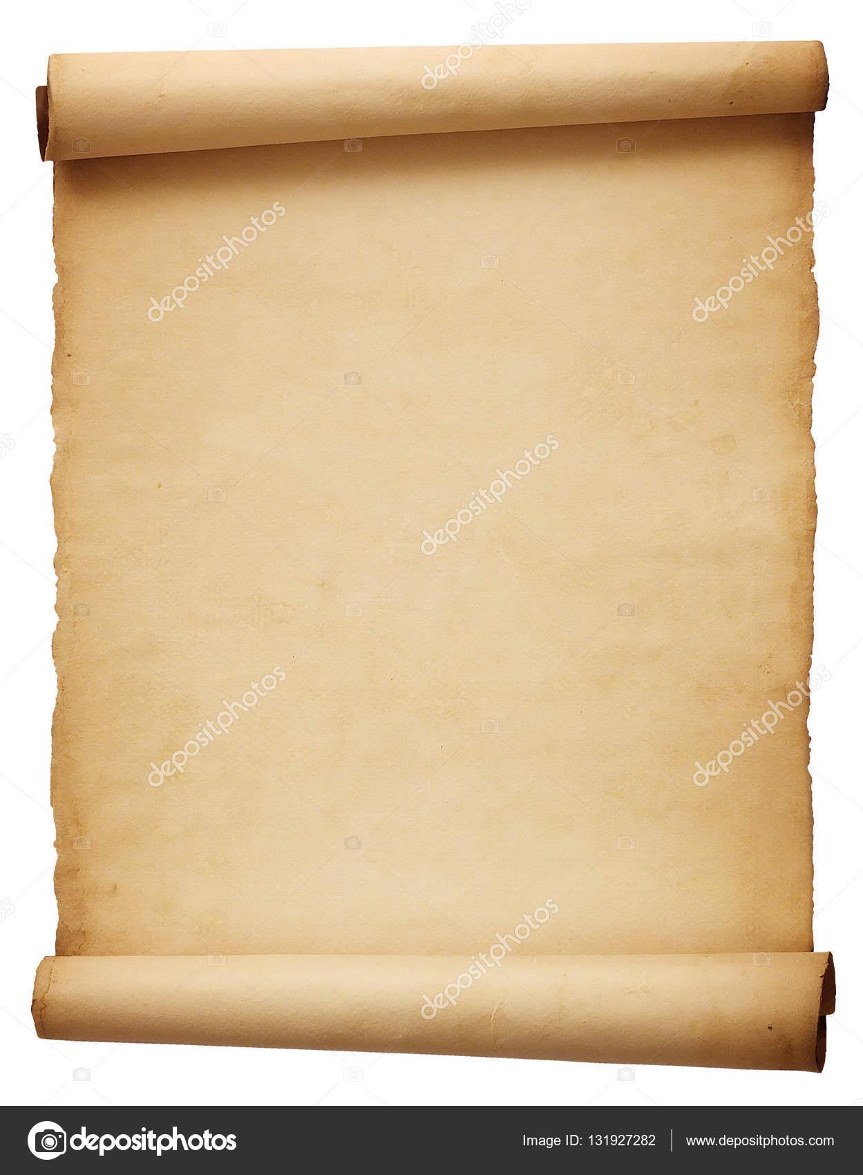 Alte leere antike Schriftrolle Papier isoliert auf weißem ...