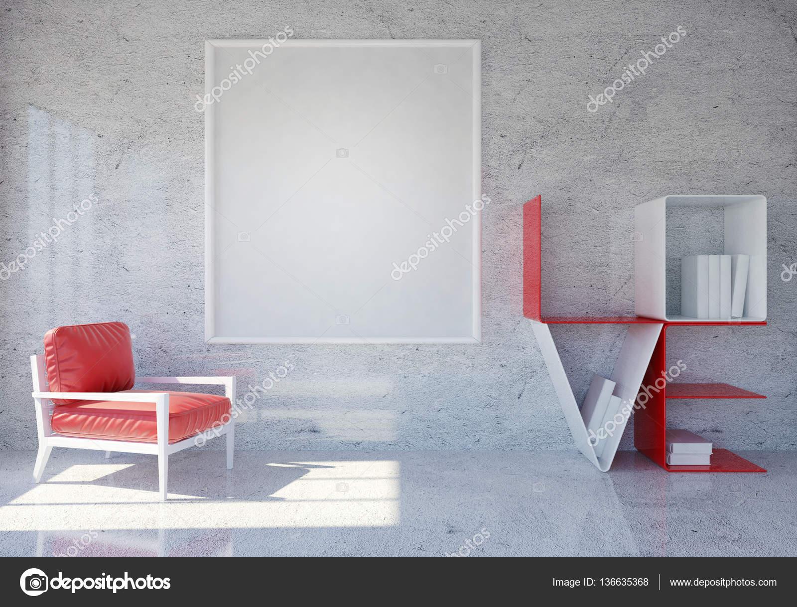 Moderne und Loft Zimmer Interieur mit Wort Liebe Bücherregal und ...