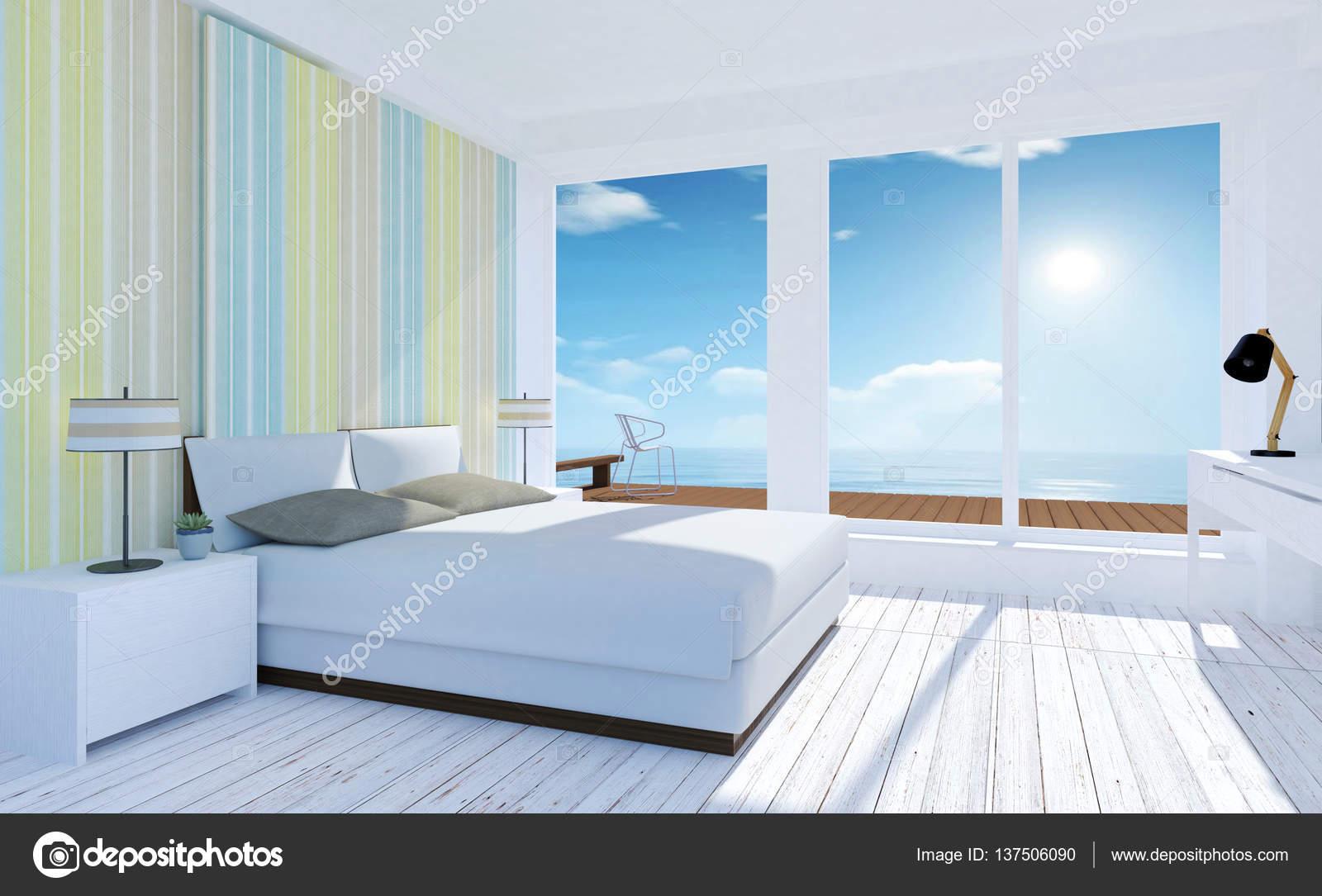 Interno minimo bianco e accogliente camera da letto con ...