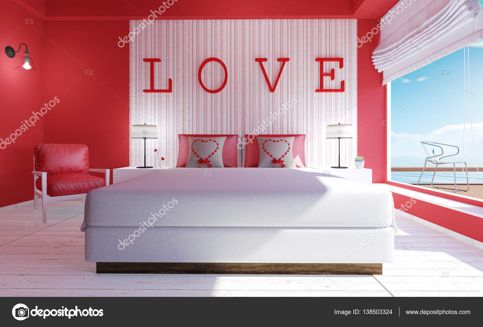 love modern bedroom interior for valentines day 3d rendering stock photo