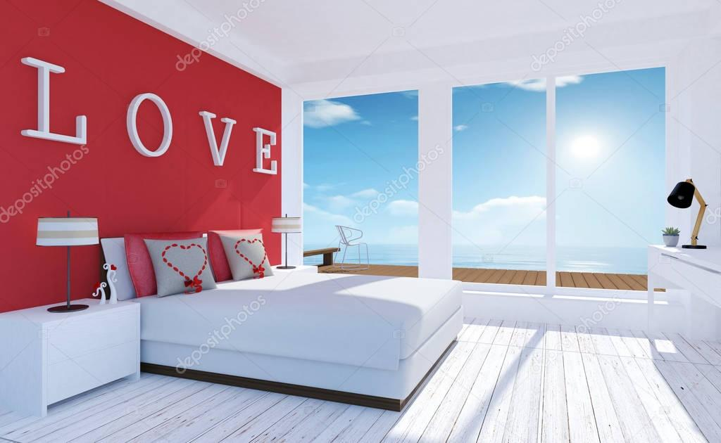 Interiore di amore moderno e minimal camera da letto con terrazza sul mare per san valentino - Camera da letto minimal ...