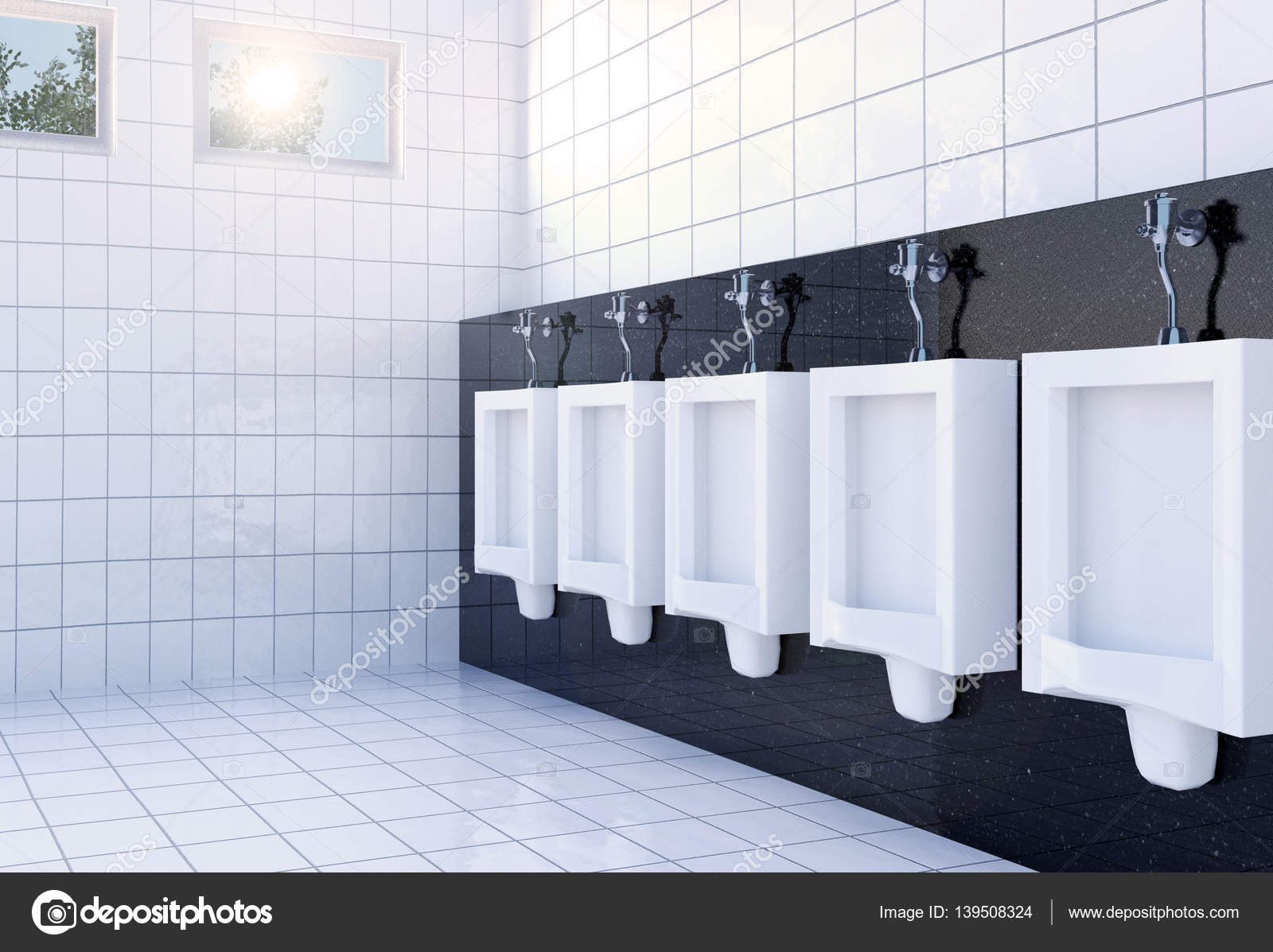 Public men\'s toilet room interior with white urinals row on white ...