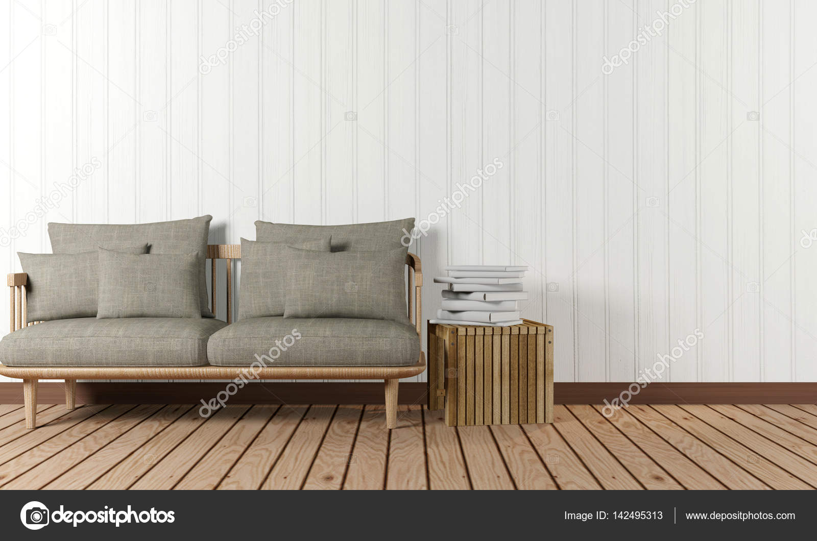 Room Interior With Sofa And Side Table In Minimalist Style U2014 Stock Photo