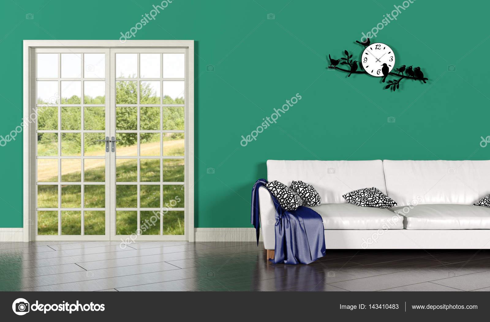 Woonkamer interieur met groene muur — Stockfoto © geerati@gmail.com ...