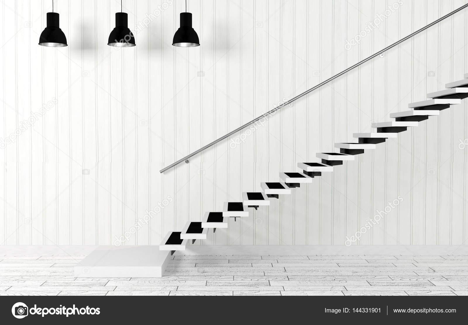 Whiteroom Interieur Mit Treppe Und Deckenleuchten Modern Und Minimal U2014  Stockfoto