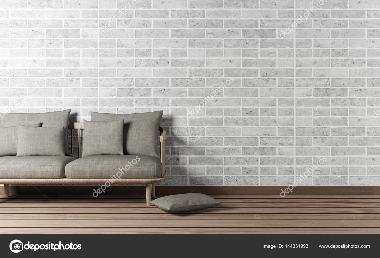 Interieur van de woonkamer met sofa en bakstenen muur — Stockfoto ...