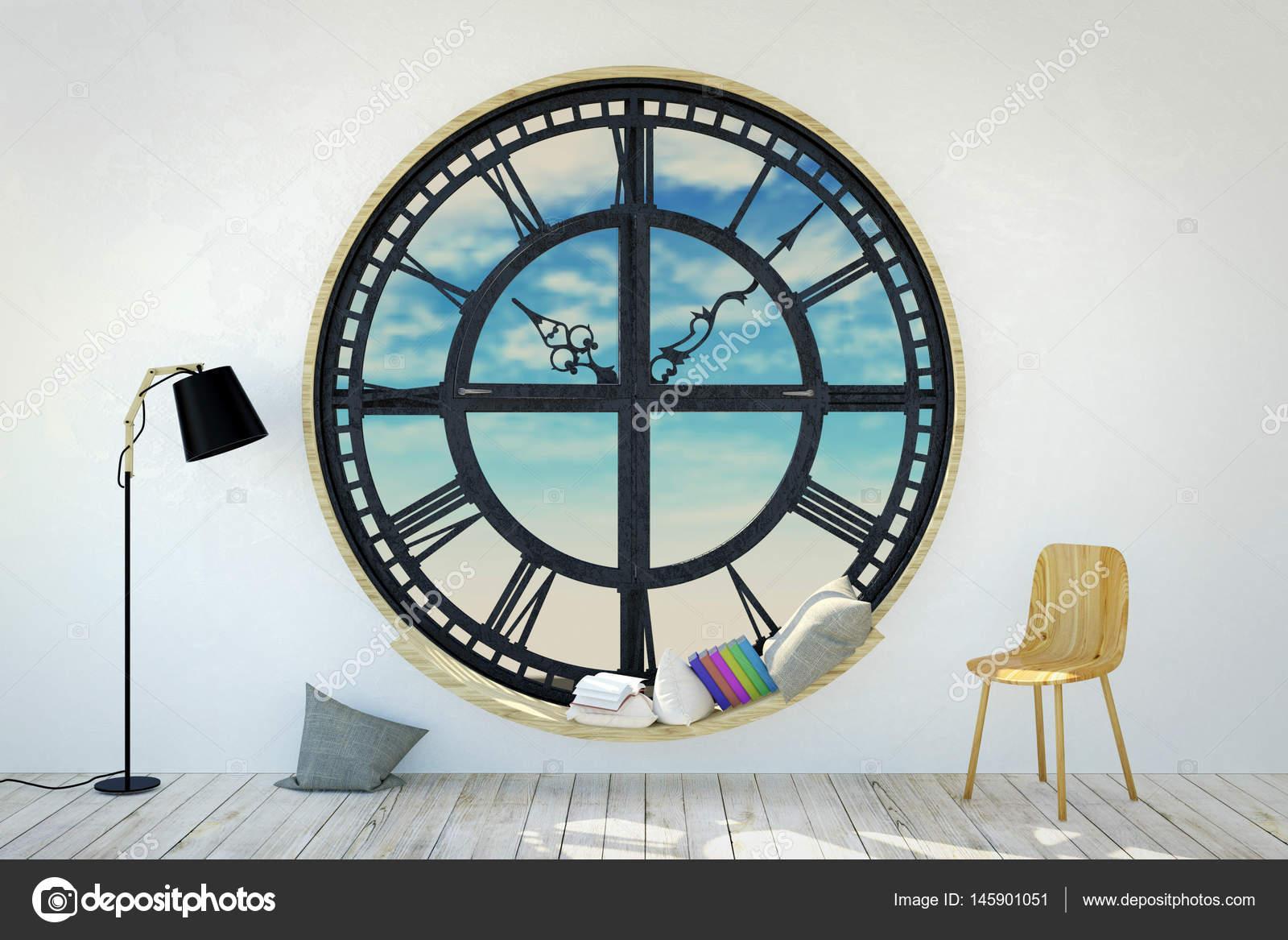 Whiteroom Interieur im minimalistischen Dekoration mit runden Metall ...
