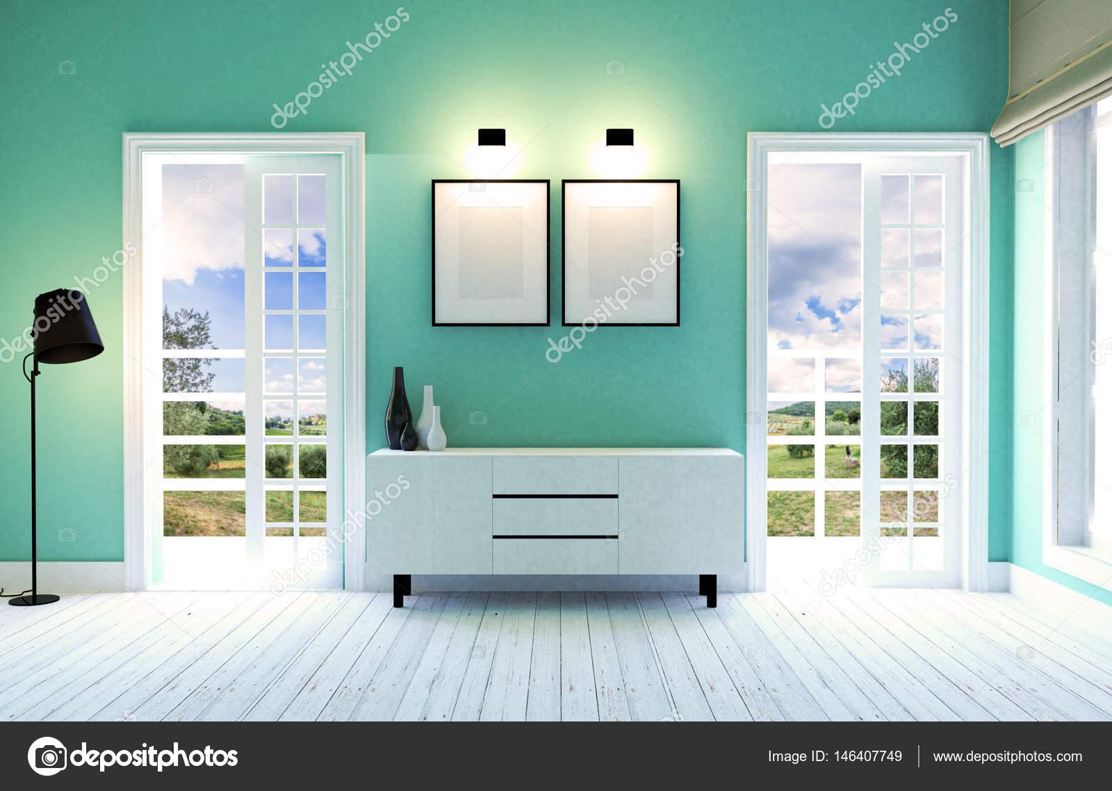 Moderne Und Zeitgenössische Wohnzimmer Interieur Mit Grünen Wand, Weißen  Holzboden Und Dekorative Möbel, 3D