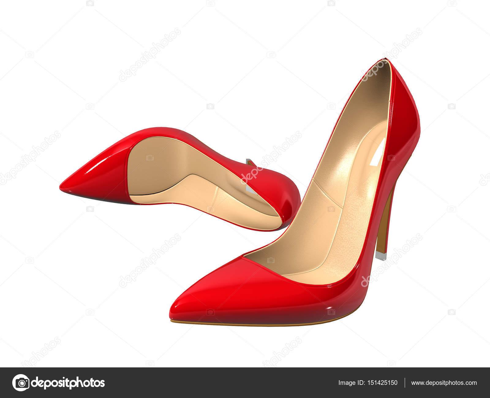 weibliche rote schuhe mit hohen abs tzen auf wei em. Black Bedroom Furniture Sets. Home Design Ideas