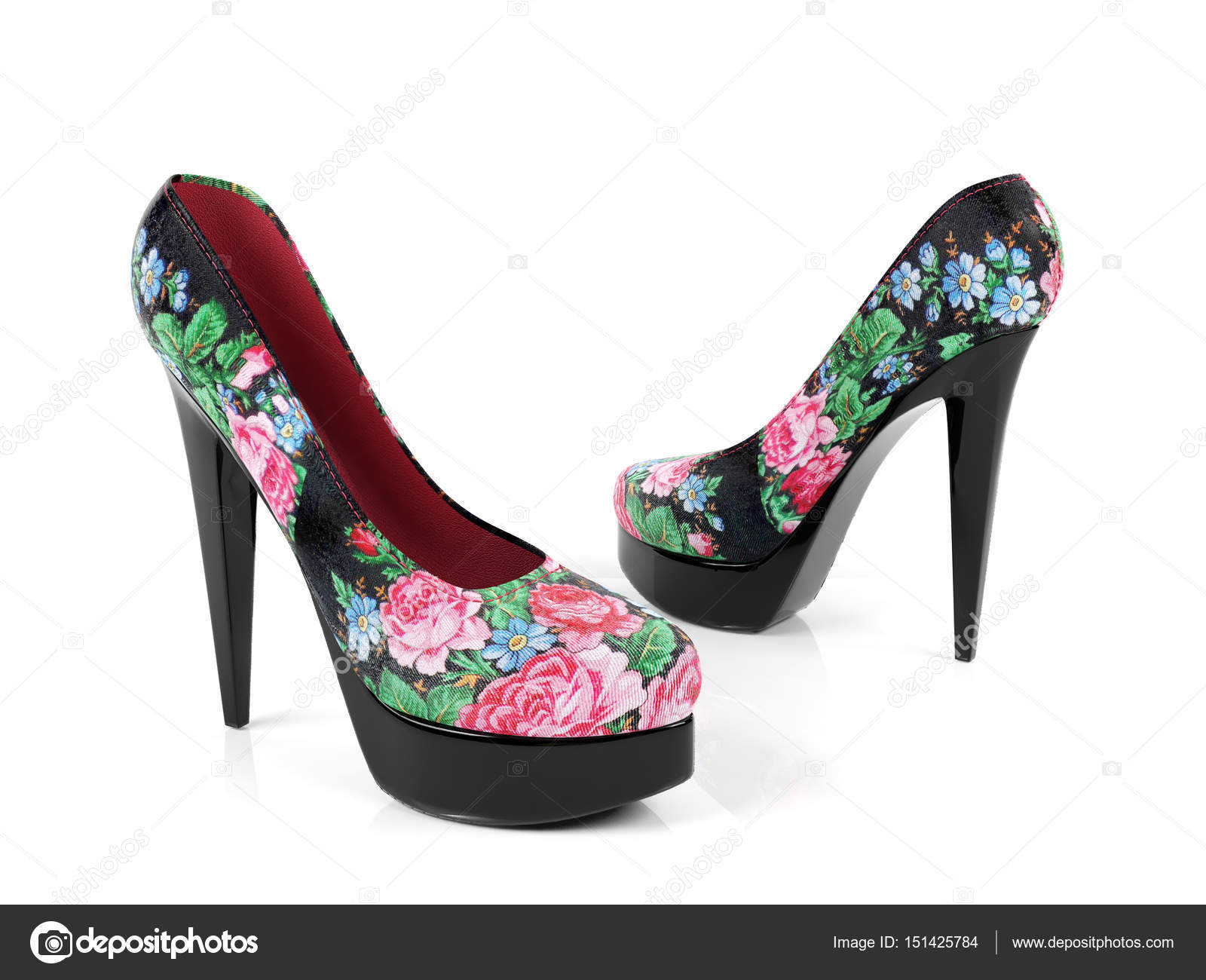 Female High Heeled Shoes With Flower Pattern Isolated On White