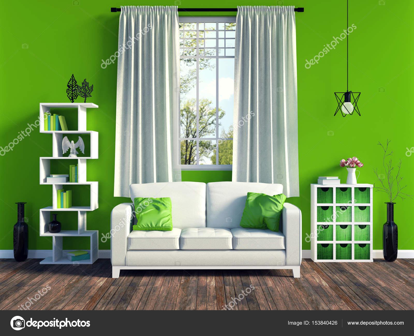 Moderne grüne Wohnzimmer Interieur mit weißen Sofa und Möbeln und ...