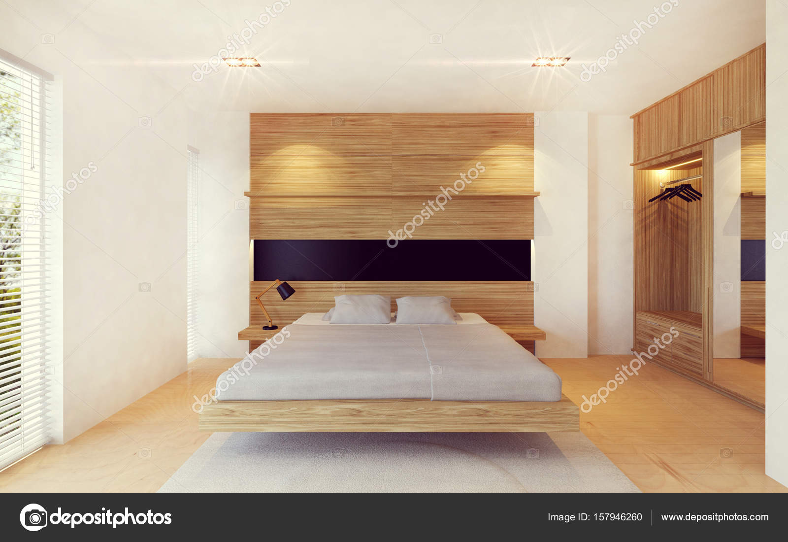 Moderne Schlafzimmer Innenraum In Holz Dekoration, 3D Rendering U2014 Stockfoto