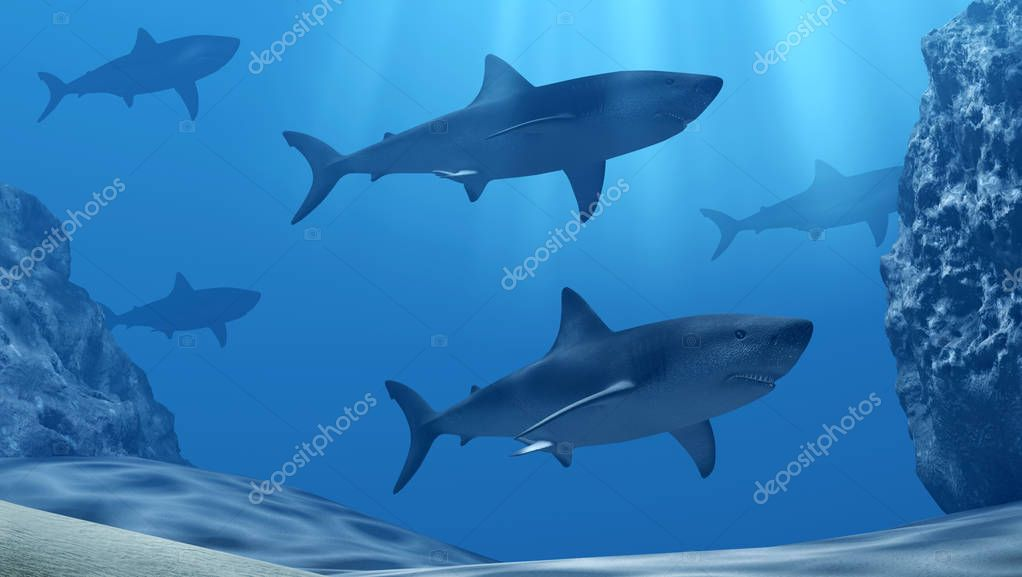 Flock of sharks underwater with sun rays and stones in deep blue sea