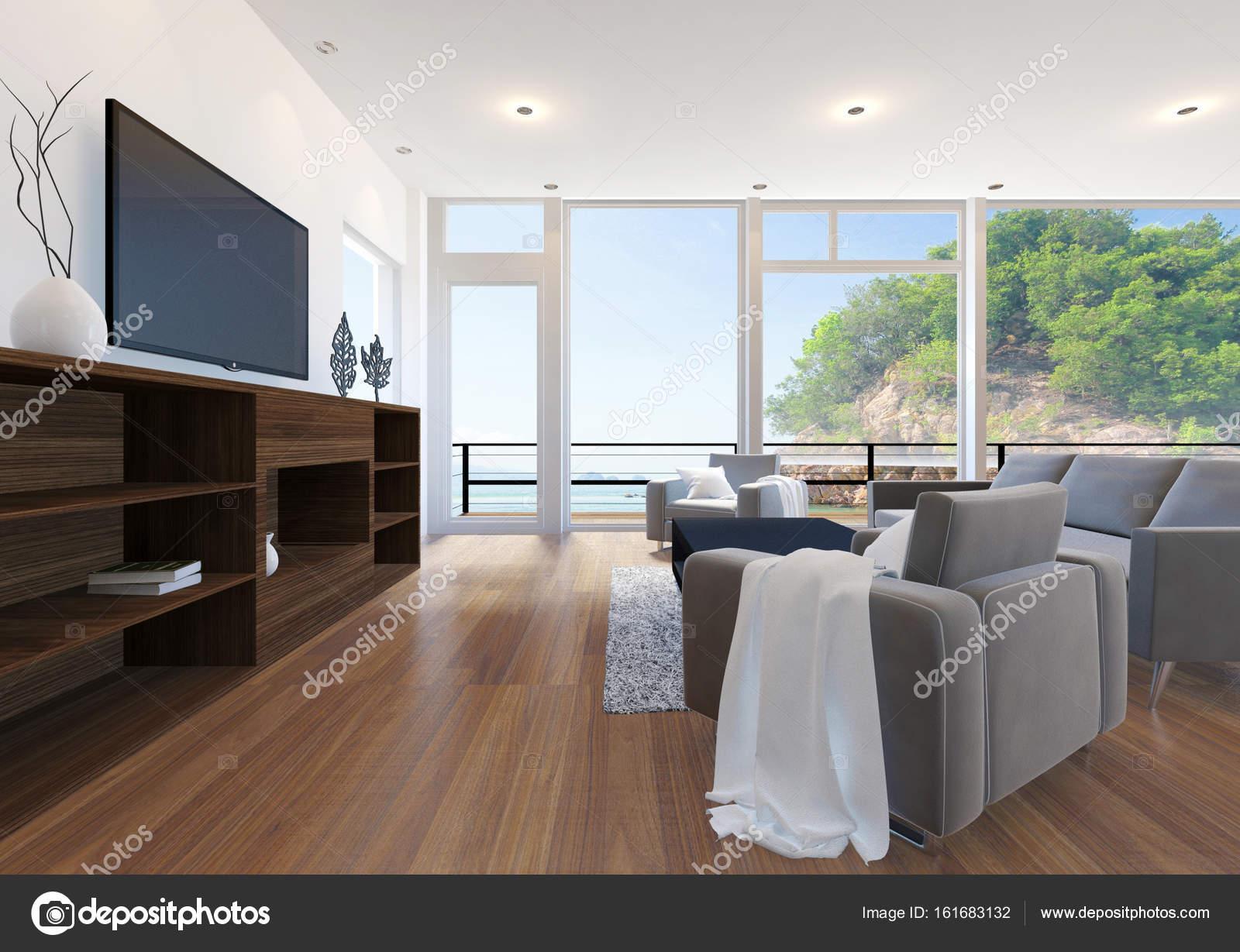 Schon Moderne Wohnung Wohnzimmer Interieur Mit Blick Aufs Meer, 3D Rendering U2014  Stockfoto