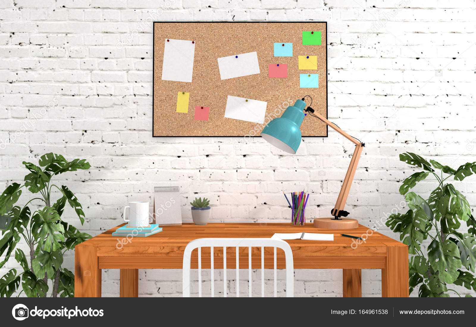 Home Office Room Interior In Modern And Loft Decoration With Cork Board Blank Memo Paper Study Or Working Desk Table Lamp Photo By Geerati Gmail