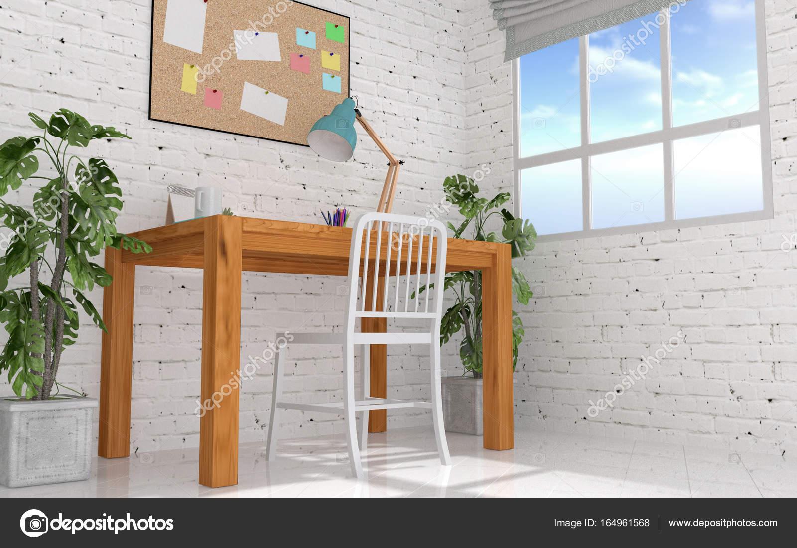 Home-Office-Innenraum in modernen und Loft-Dekoration mit Pinnwand ...
