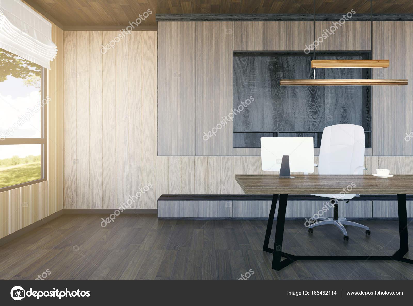 Modern en minimalistisch interieur van baas kantoor d rendering