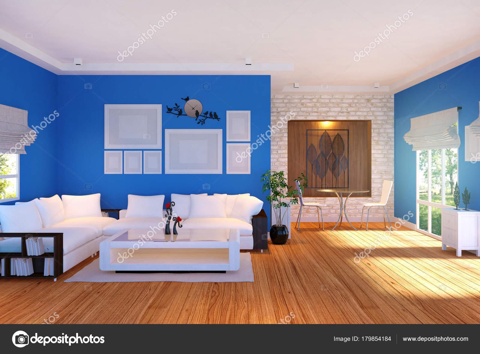 Moderne Wohnzimmer Einrichtung Mit Möbeln Und Leeren Bilderrahmen Wand  Rendering U2014 Stockfoto