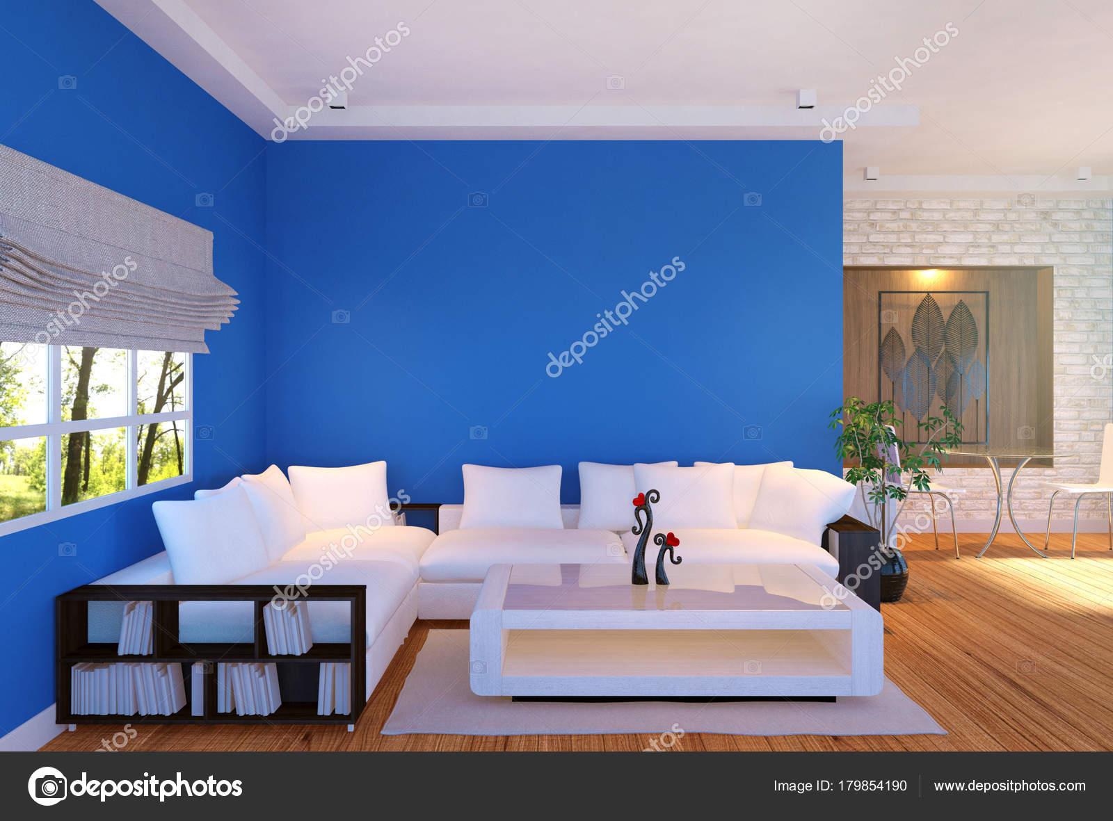 Entzuckend Moderne Wohnzimmer Einrichtung Mit Möbeln Und Blau Leere Wand Rendering U2014  Stockfoto
