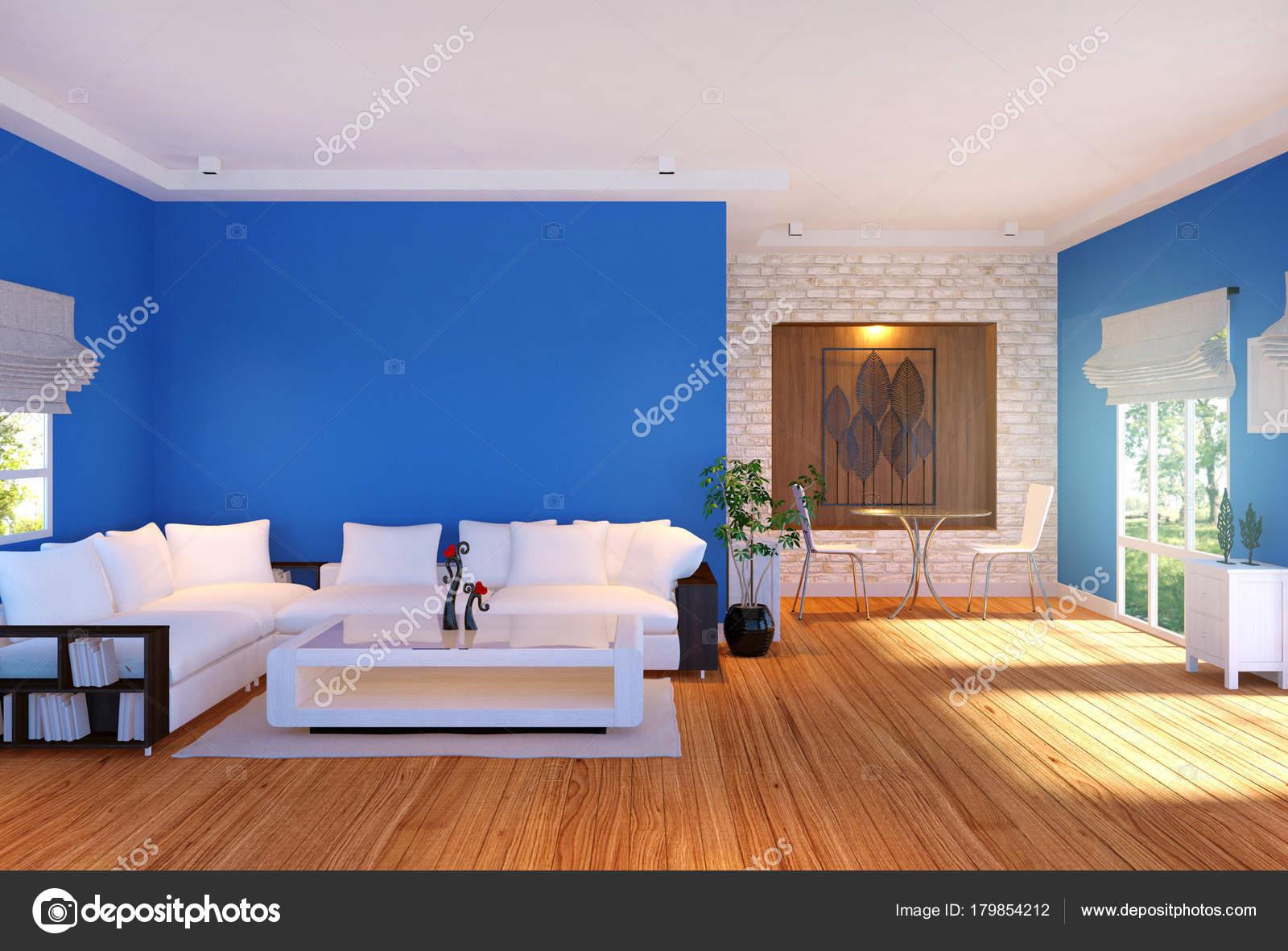 Fantastisch Moderne Wohnzimmer Einrichtung Mit Möbeln Und Blau Leere Wand Rendering U2014  Stockfoto