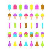 Sada barevných zmrzlina ikon