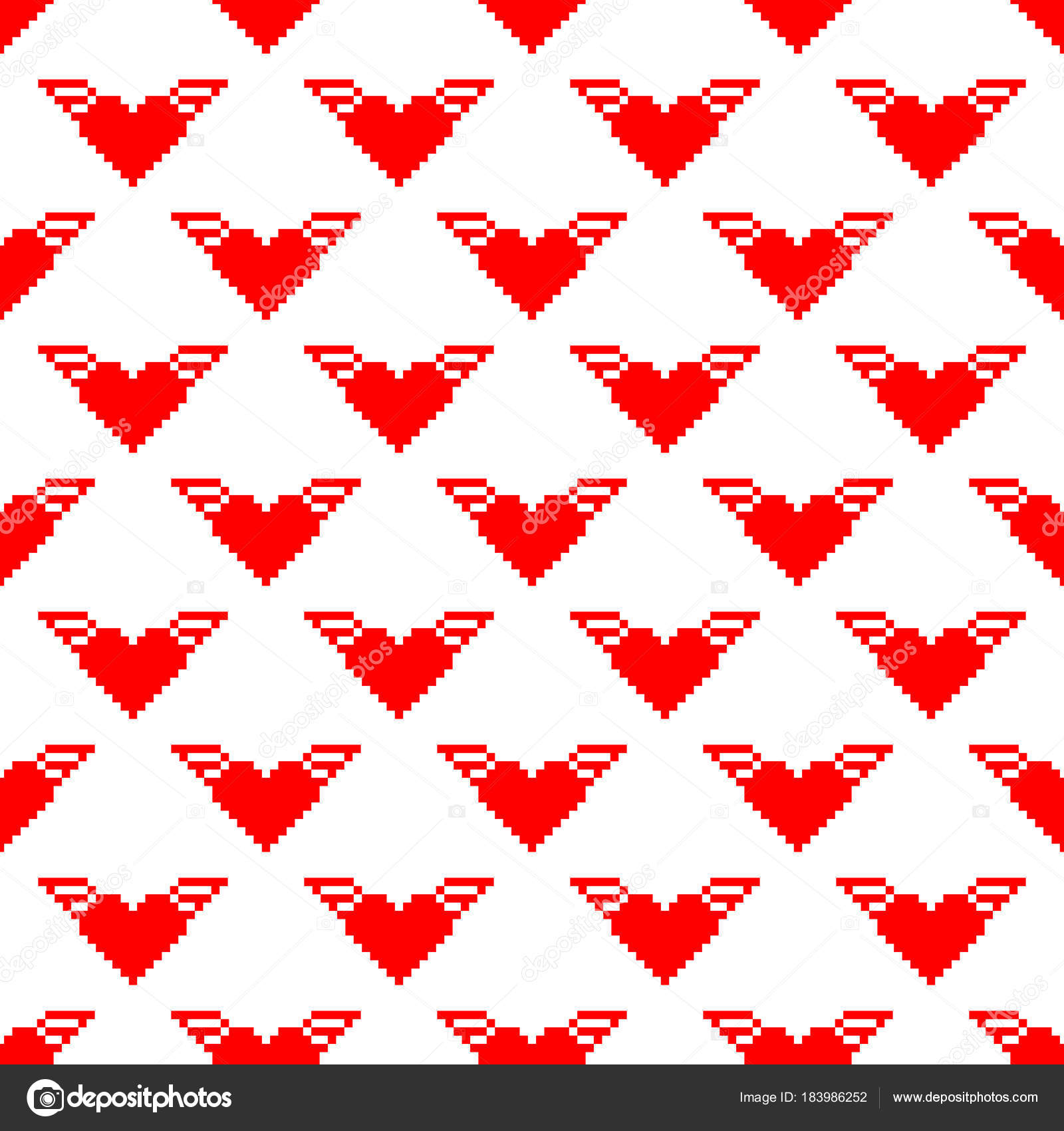Valentine Pixel Seamless Pattern Image Vectorielle