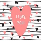 Fotografie Karte mit rosa Herz und Text ich liebe dich