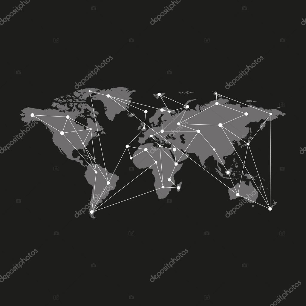 Leere graue ähnliche Weltkarte isolierten auf schwarzen ...