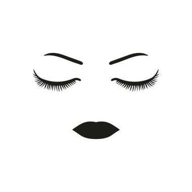 Eyelashes, eyebrows, eyes and lips-Face of girl