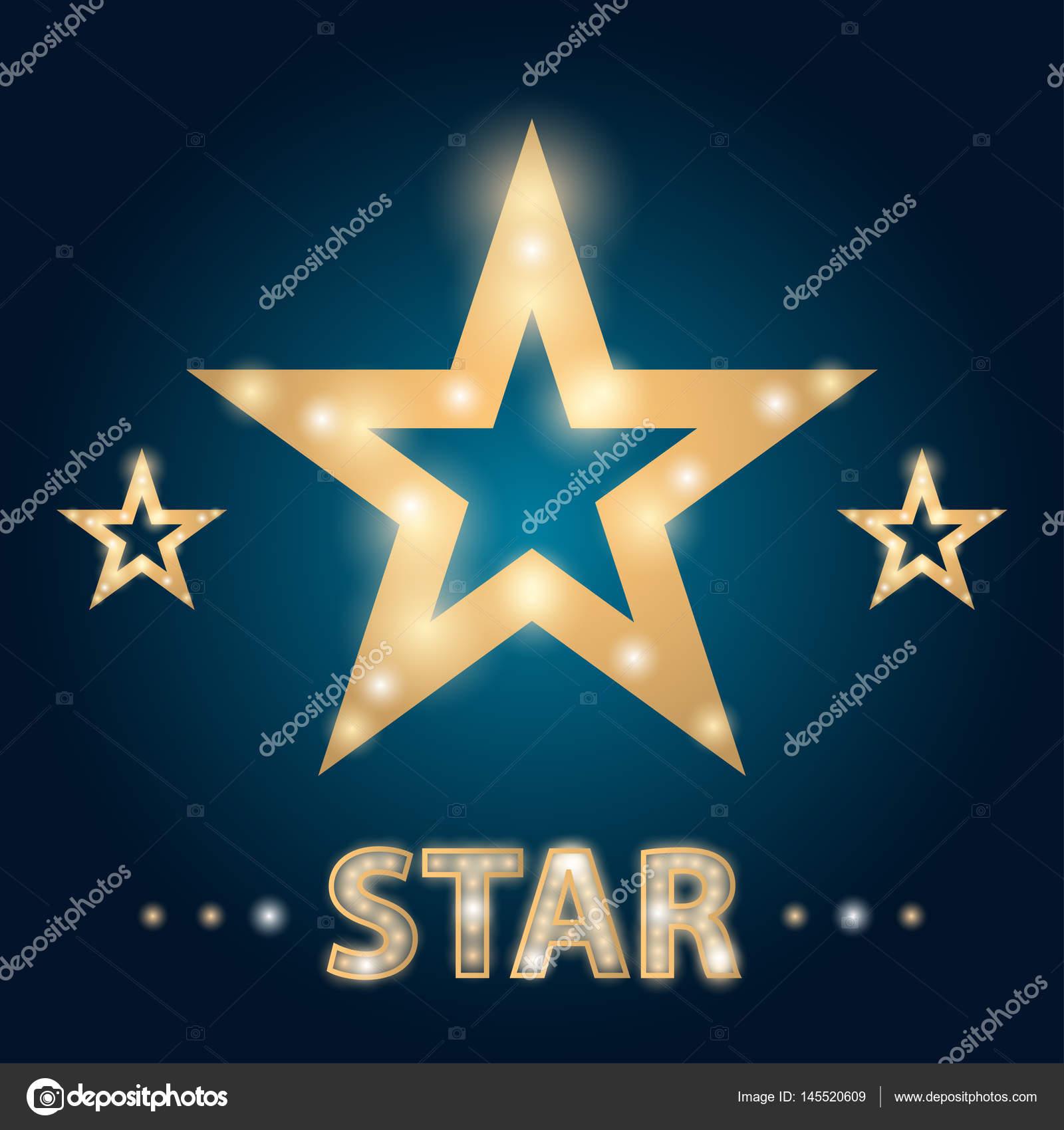 Retro Hollywood Stars Frame With Lights Vector Illustration