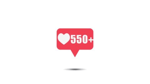 Růžové jako ikona na bílém pozadí pro sociální média 1-1 milion líbí. Video o pohybu 4k