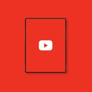 Youtube logo red screen. Editorial vector. Kyiv, Ukraine - January 19, 2020