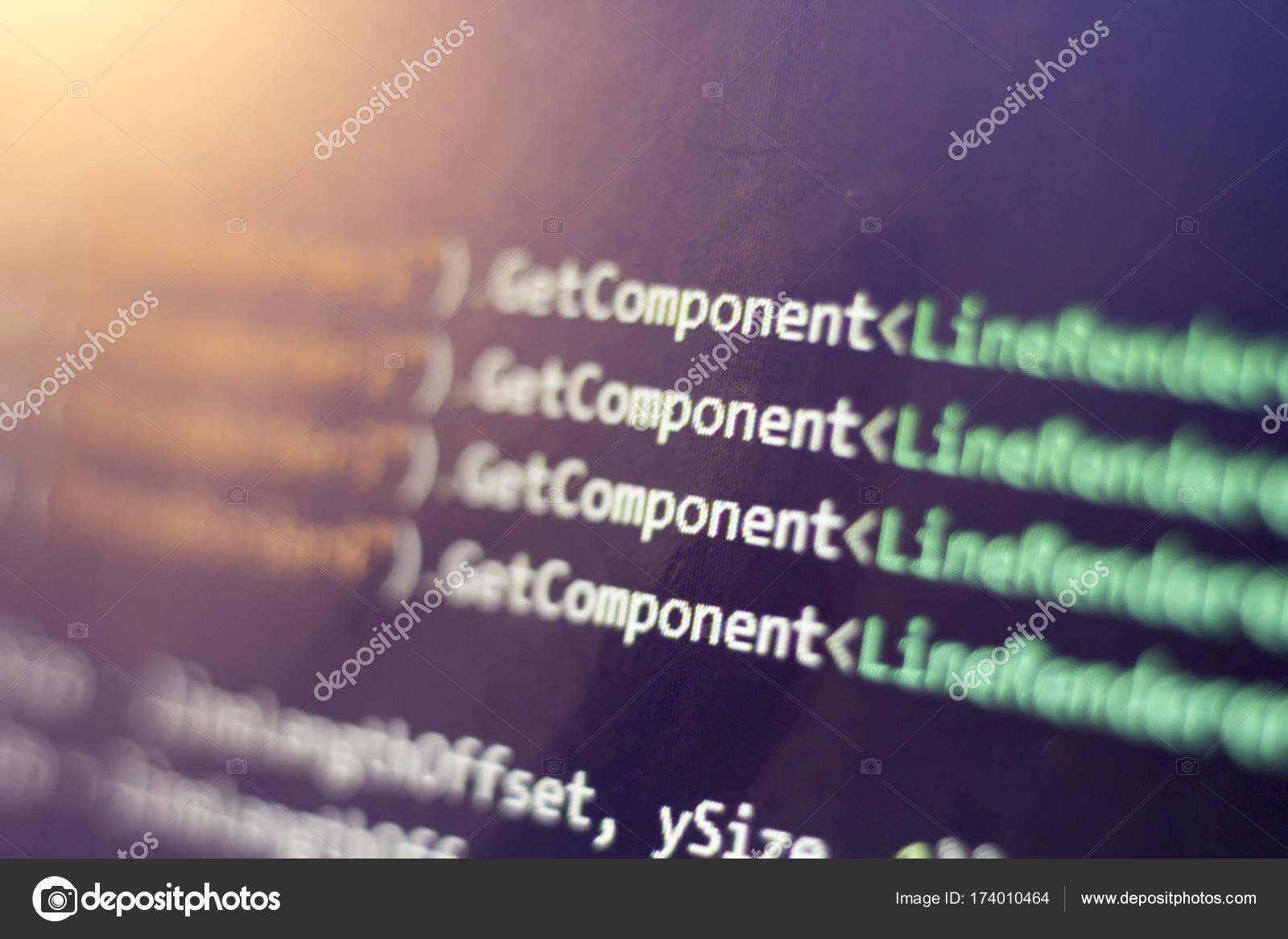 Software development C-Sharp (C#,  NET) code close up  Macro
