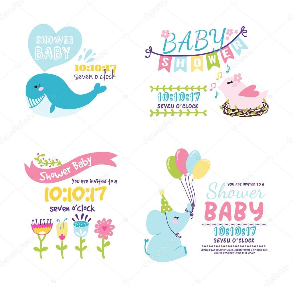 Imágenes Invitacion Baby Shower Unisex Tarjeta De Vector