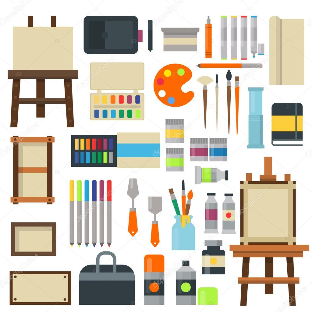 creative furniture icons set flat design. Set Of Art Icons In Flat Design Creativity Silhouette Tube Vector  Illustration. Collection Paint Brush Set Symbols Palette. Creative Furniture