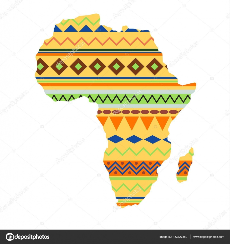 Diversity Colors Tribal Ethnic Bands Africa Over White Background Textured Vector Map Continent International Travel Geography Illustration World Design