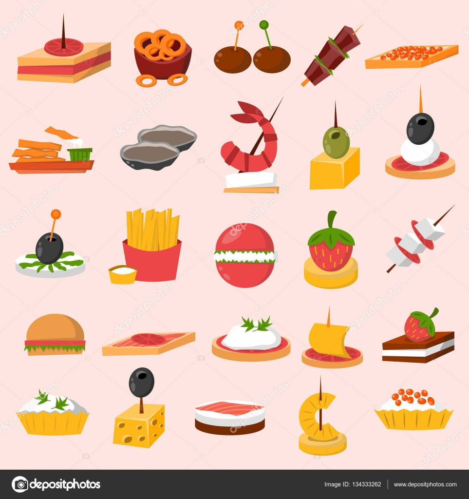 Canape snacks appetizer vector set stock vector for Canape vector download