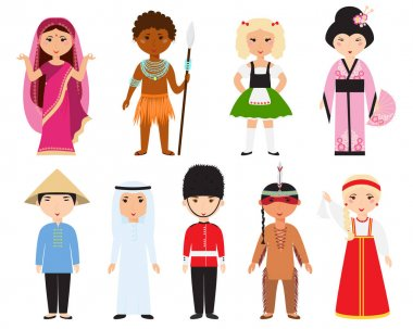 Different nations people vector.