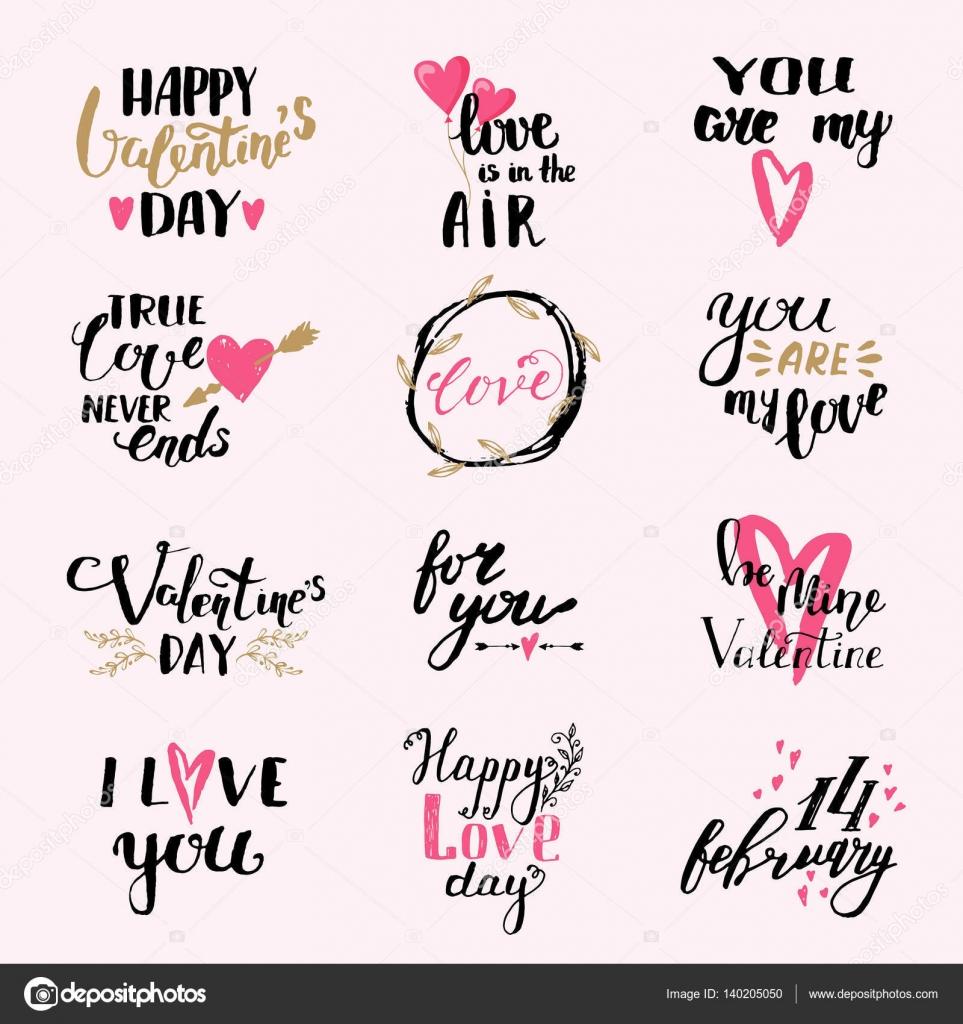 Eu Te Amo Design De Impressão Frases Dia Dos Namorados Conjunto De