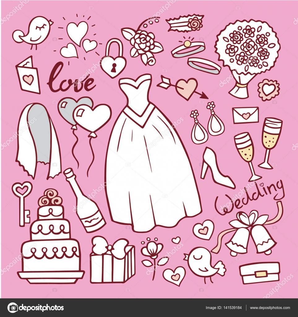 Vestido de Novia de moda doodle ilustración de vector de estilo ...