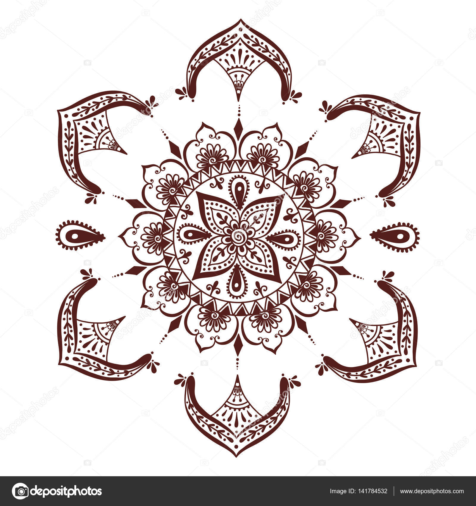 henna tattoo mehndi blume vorlage vektor illustration. Black Bedroom Furniture Sets. Home Design Ideas